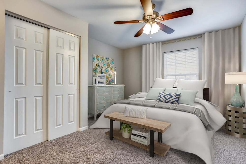 An apartment bedroom at Lakeview Townhomes at Fox Valley in Aurora, Illinois