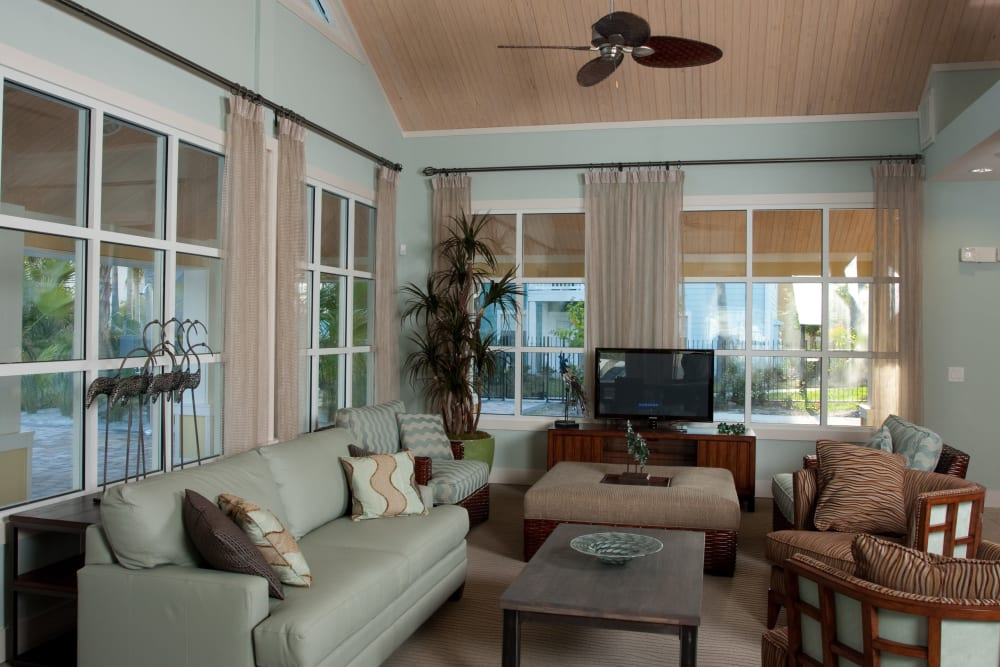 Comfortably designed resident lounge interior at Abaco Key in Orlando, Florida