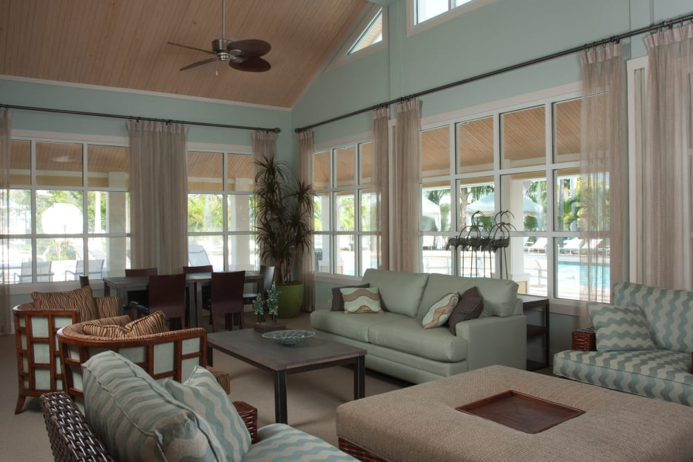 Resident lounge in the clubhouse at Abaco Key in Orlando, Florida