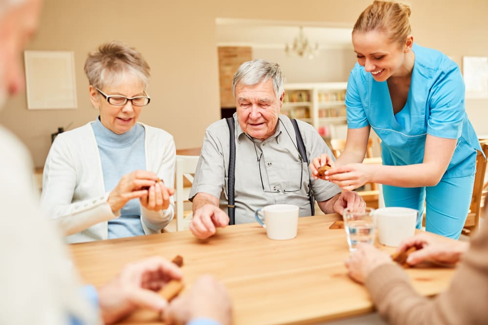 Residents getting their medication at Bishop's Court in Allouez, Wisconsin