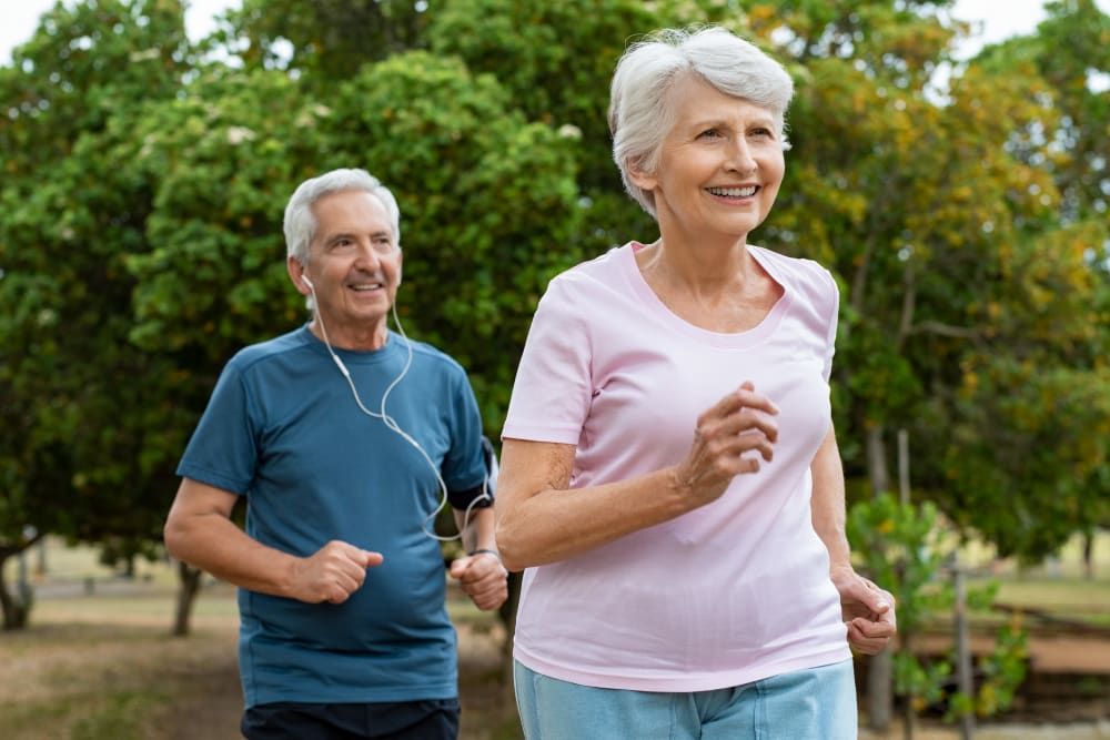 Active residents jogging at Bishop's Court in Allouez, Wisconsin