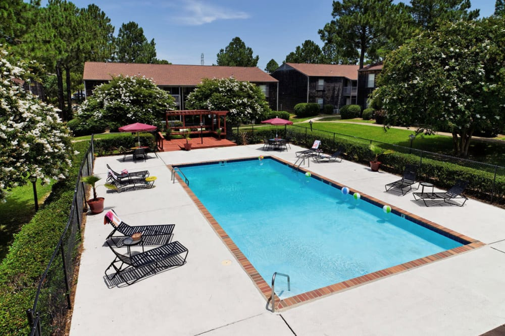 Swimming pool for residents at Pinebrook Apartments in Ridgeland, Mississippi