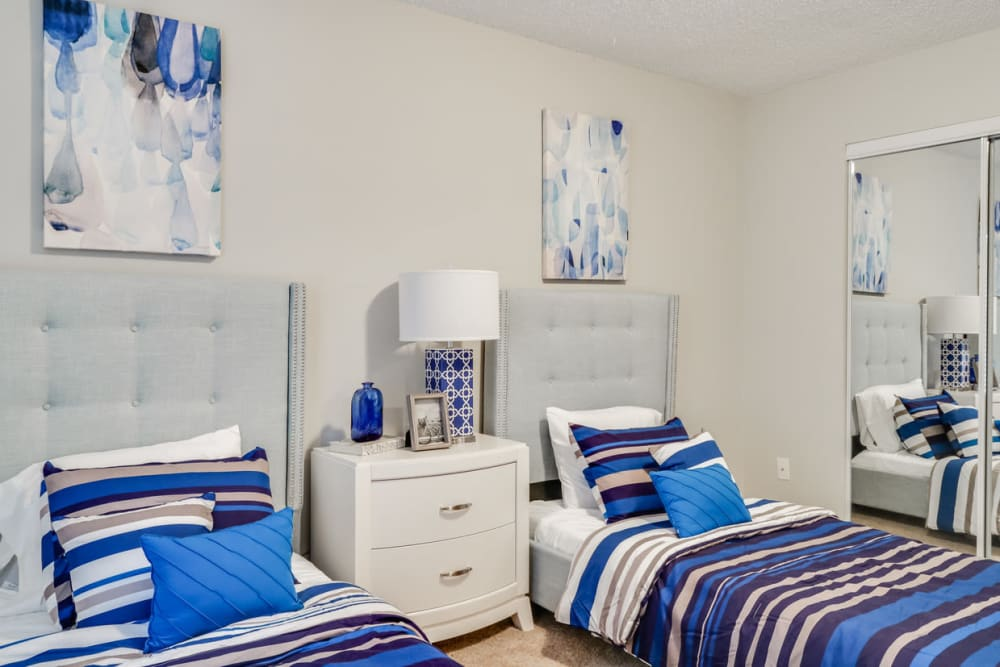 Guest bedroom at Pinebrook Apartments in Ridgeland, Mississippi