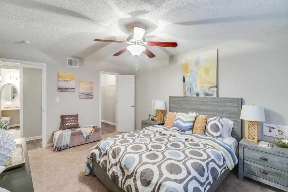 Master bedroom at Pinebrook Apartments in Ridgeland, Mississippi
