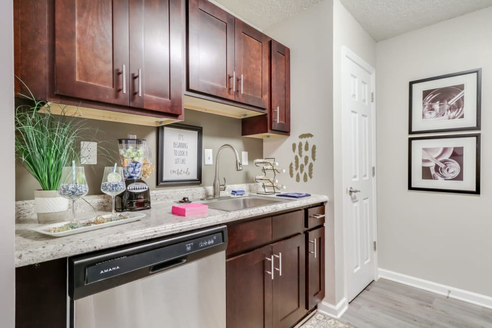 Ample kitchen storage at Pinebrook Apartments in Ridgeland, Mississippi