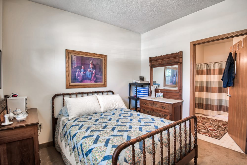 A roomy bedroom at Brookstone of Aledo in Aledo, Illinois