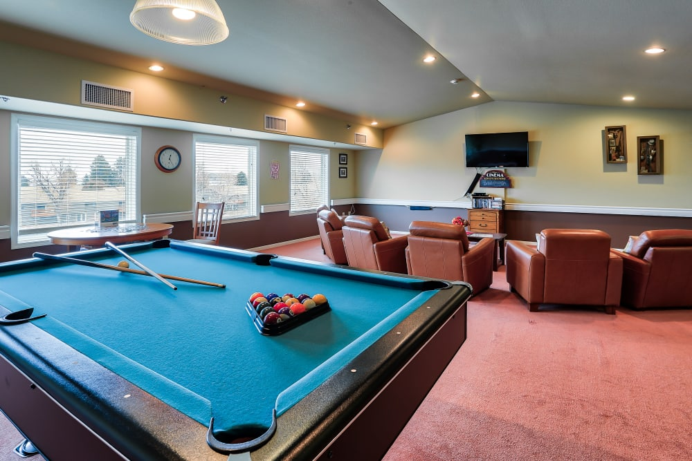 Game room at The Wellington in Minot, North Dakota