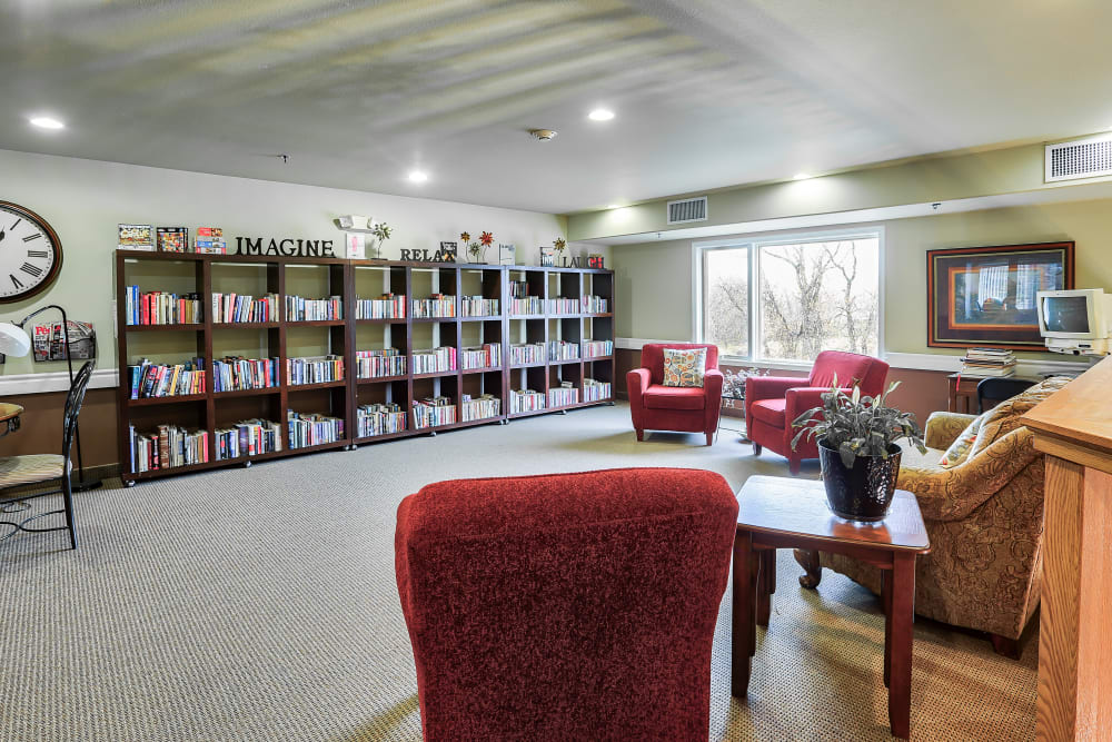 A reading room at The Wellington in Minot, North Dakota