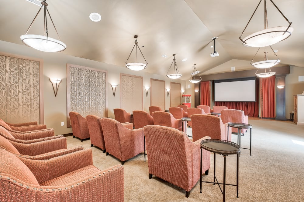 A movie viewing room with comfortable chairs at The Landings of Kaukauna in Kaukauna, Wisconsin