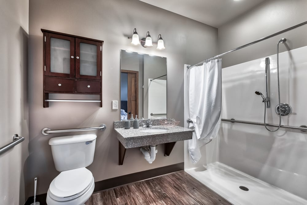 A bathroom at The Landings of Kaukauna in Kaukauna, Wisconsin