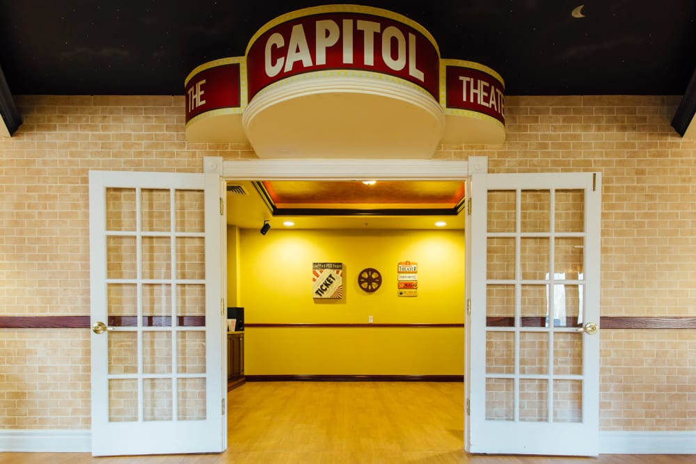 Entrance to the movie theater at The Woods of Caledonia in Racine, Wisconsin