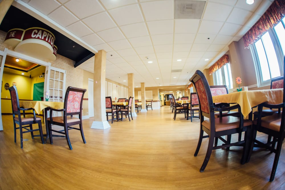 One of the many dining areas at The Woods of Caledonia in Racine, Wisconsin