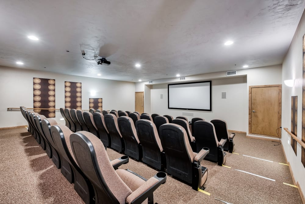 Comfortable chairs in the movie viewing room at Allouez Sunrise Village in Green Bay, Wisconsin