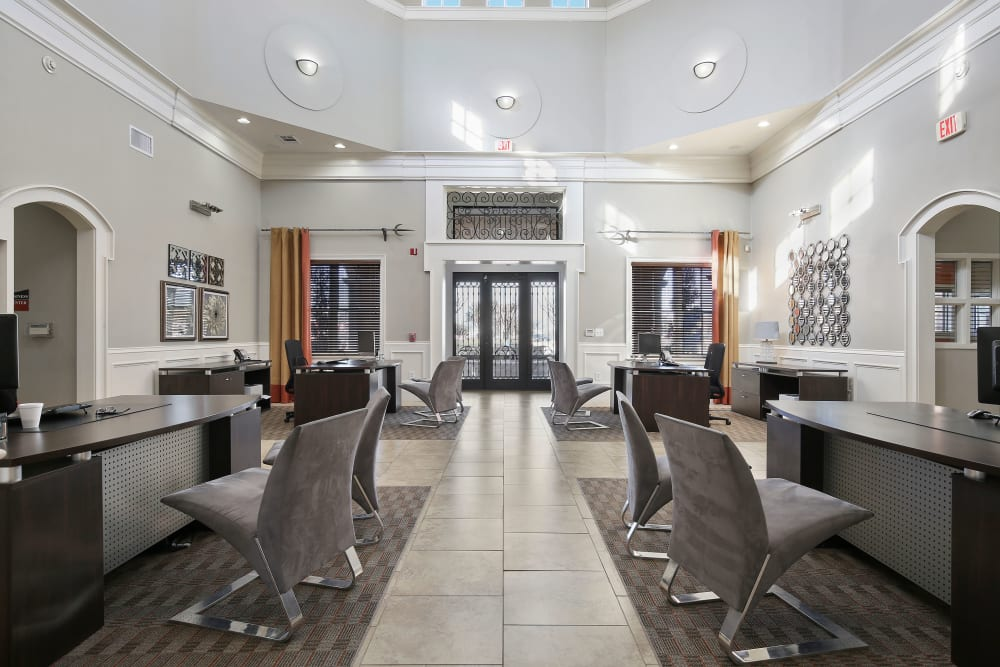 Community business center at The Lyndon in Irving, Texas