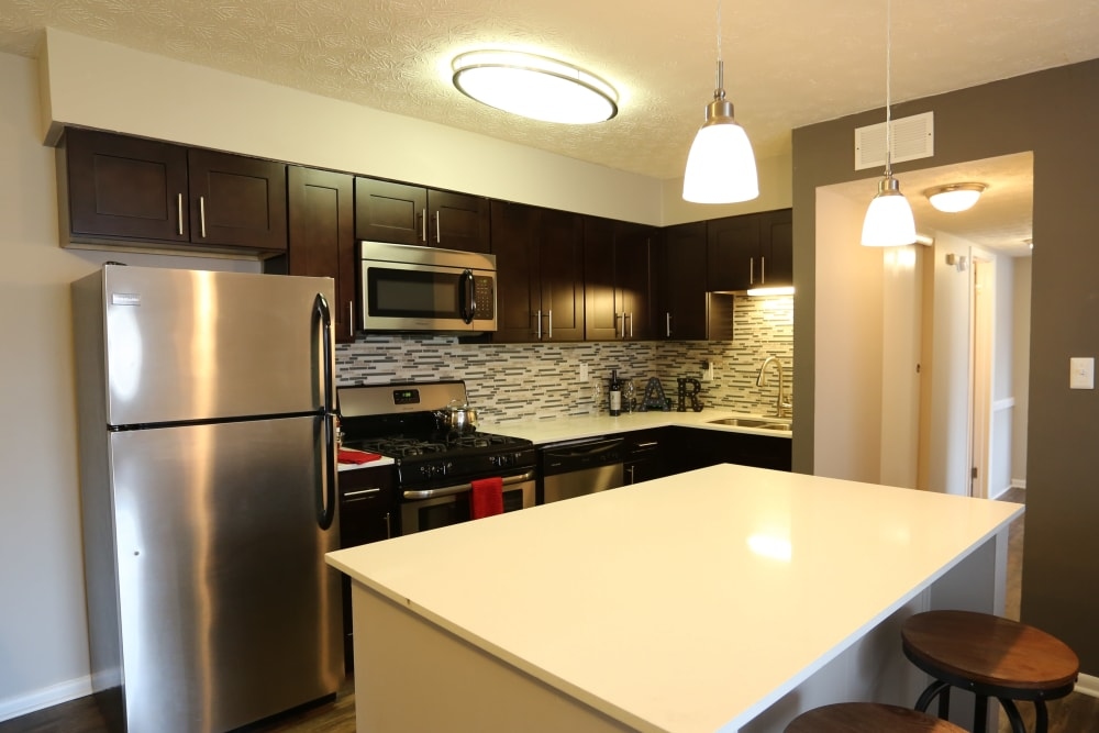 Upgraded appliances in an apartment kitchen at Fox and Hounds Apartments in Columbus, Ohio