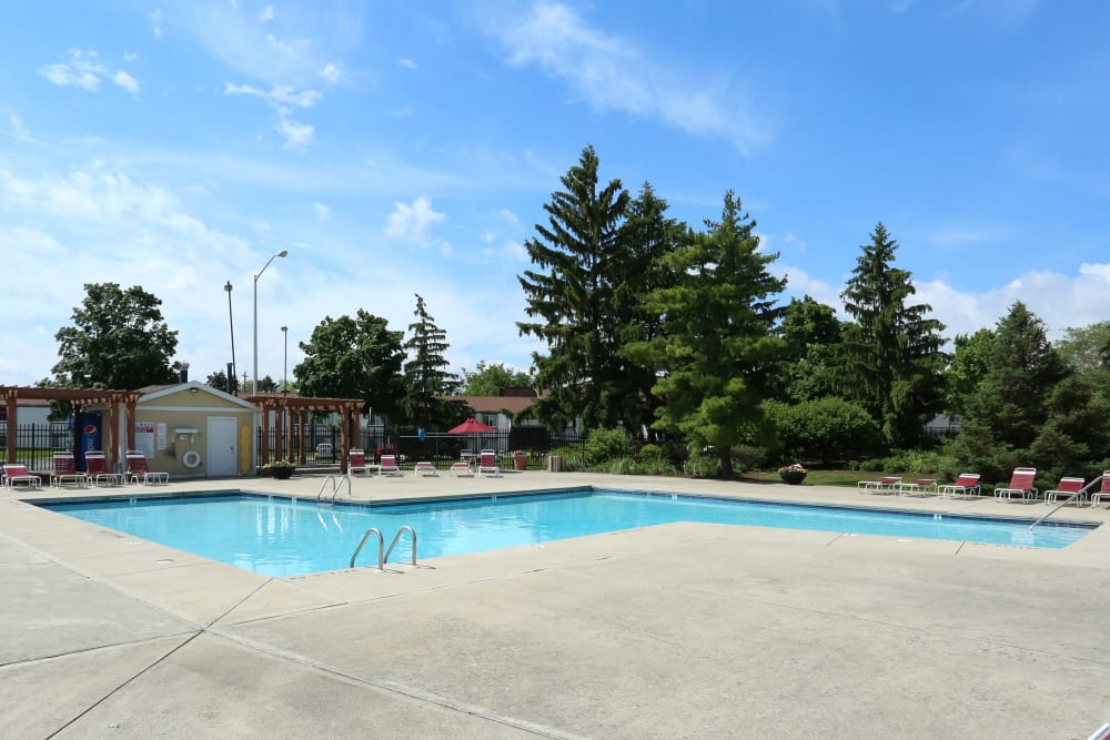 The gated community pool at Fox and Hounds Apartments in Columbus, Ohio