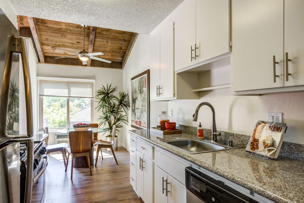 Kitchen layout at Glenbrook Apartments in Cupertino, California