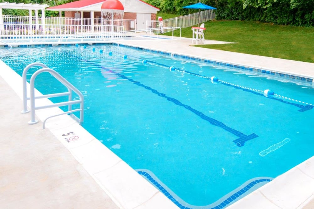 Sparkling resort-style swimming pool at Strafford Station Apartments in Wayne, Pennsylvania