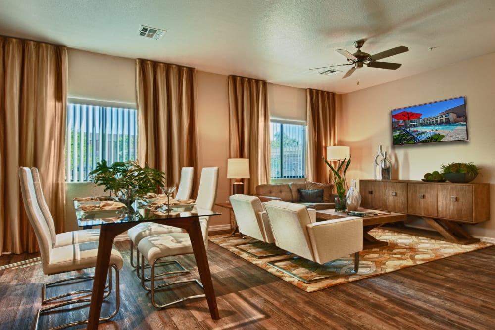 Modern decor in living area of model home at Avenue 25 Apartments in Phoenix, Arizona