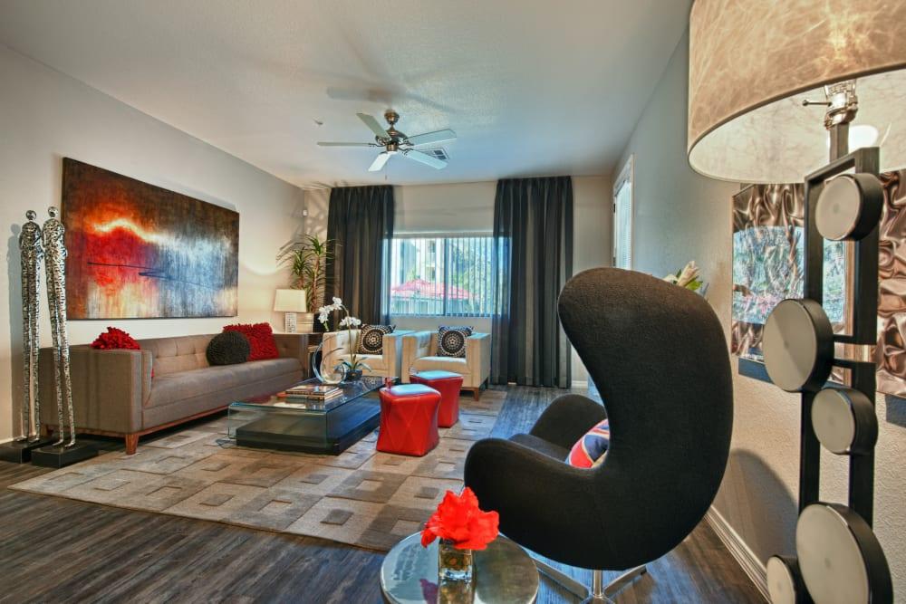 Beautiful open-concept floor plan in model home at Avenue 25 Apartments in Phoenix, Arizona