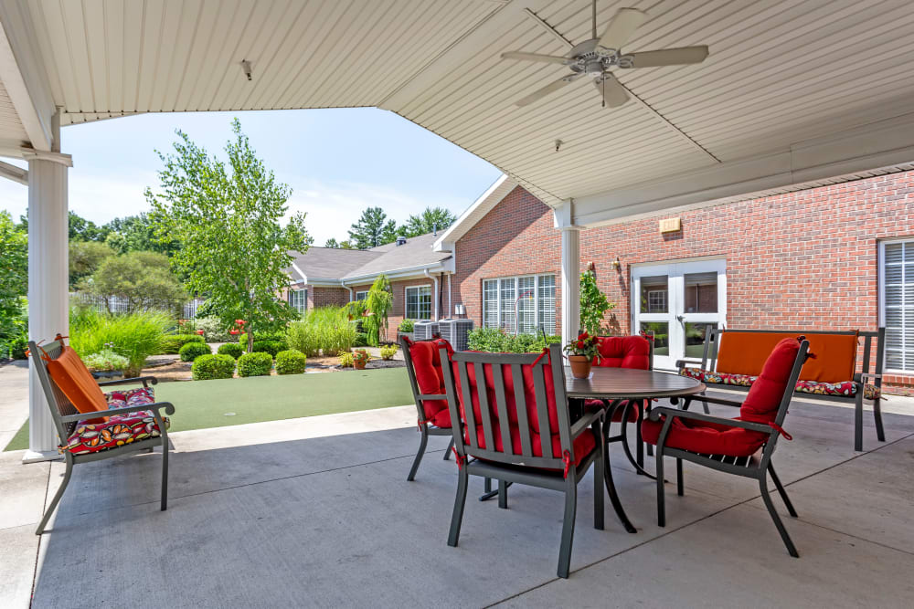 Back patio seating area at Morrison Woods Health Campus in Muncie, Indiana