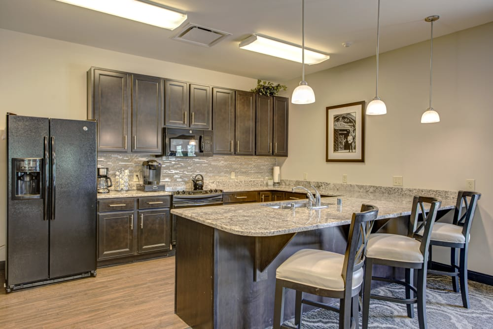 Model kitchen at Forest Springs Health Campus in Louisville, Kentucky