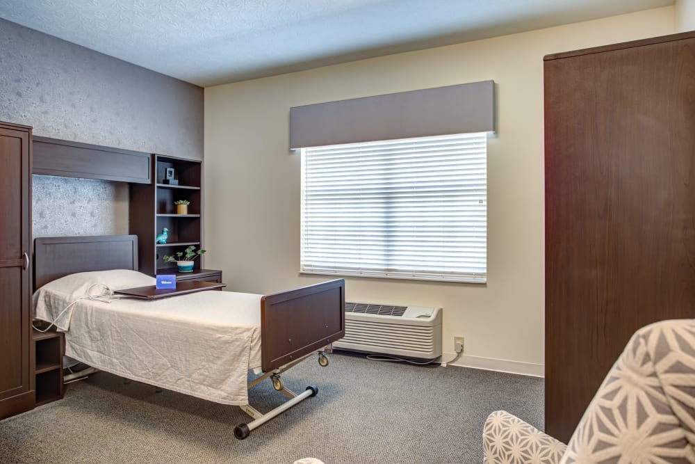 Model bedroom at Forest Springs Health Campus in Louisville, Kentucky
