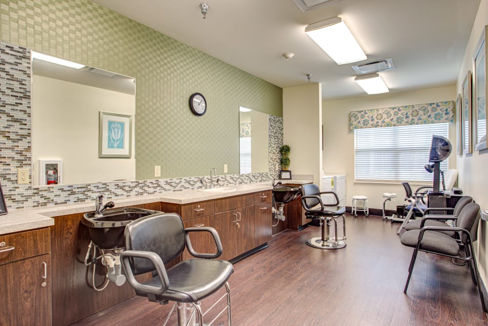 Resident hair salon at Forest Springs Health Campus in Louisville, Kentucky