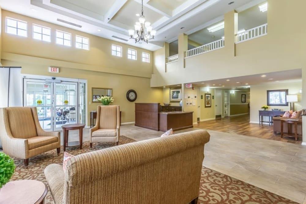 Seating in the lobby at Grand Villa of Sarasota in Sarasota, Florida