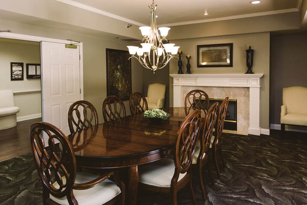 Private family dining room with seating for 8 at Claremont Place in Claremont, California