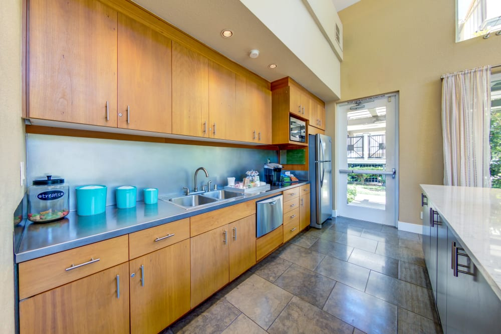 Demonstration kitchen in the resident clubhouse at Sofi Sunnyvale in Sunnyvale, California