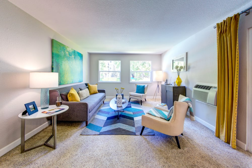 Well-furnished living space in a model home at Sofi Sunnyvale in Sunnyvale, California