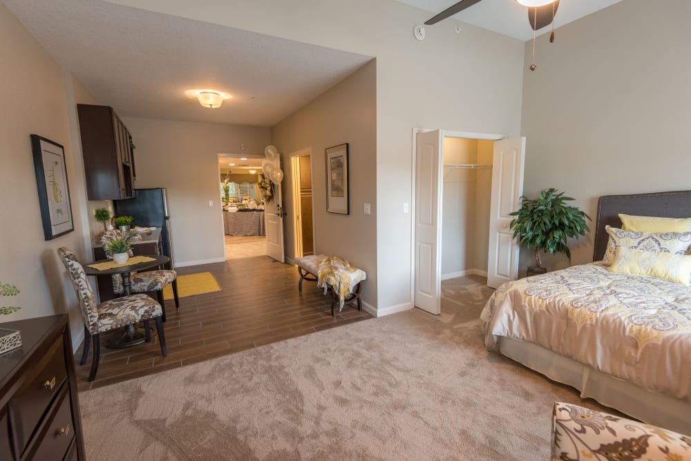 Spacious floor plans with large closets at Inspired Living Alpharetta in Alpharetta, Georgia.
