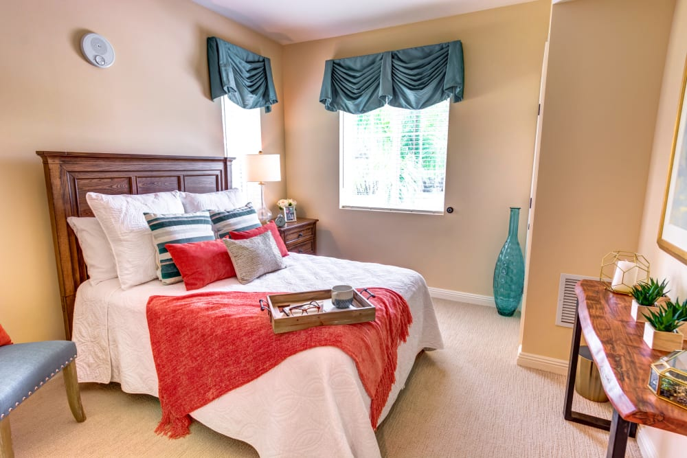 Smaller bedroom in a 1 bedroom apartment at The Meridian at Boca Raton in Boca Raton, Florida