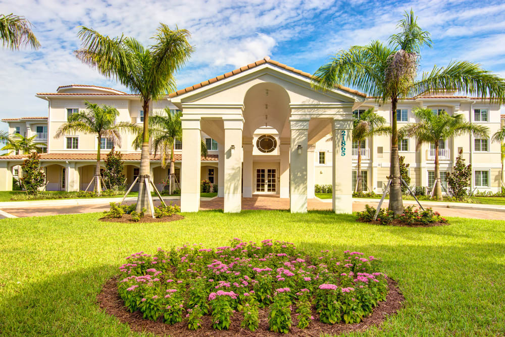Front lawn and garden on the campus at The Meridian at Boca Raton in Boca Raton, Florida