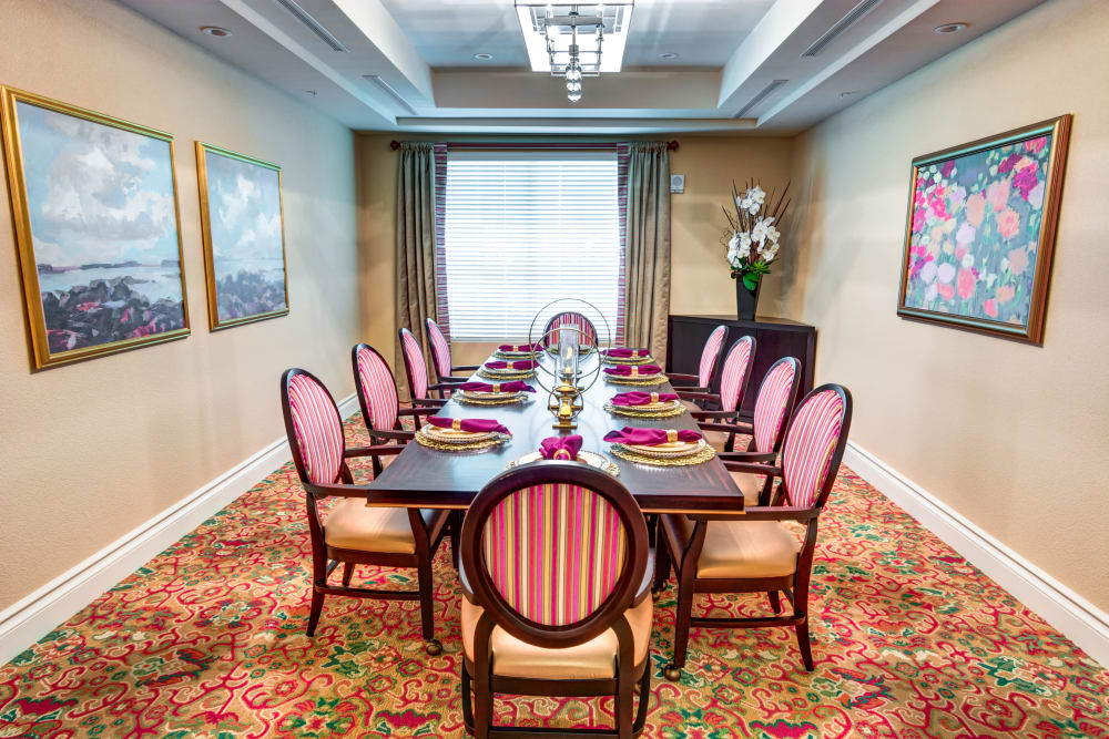 Private family dining room at The Meridian at Boca Raton in Boca Raton, Florida