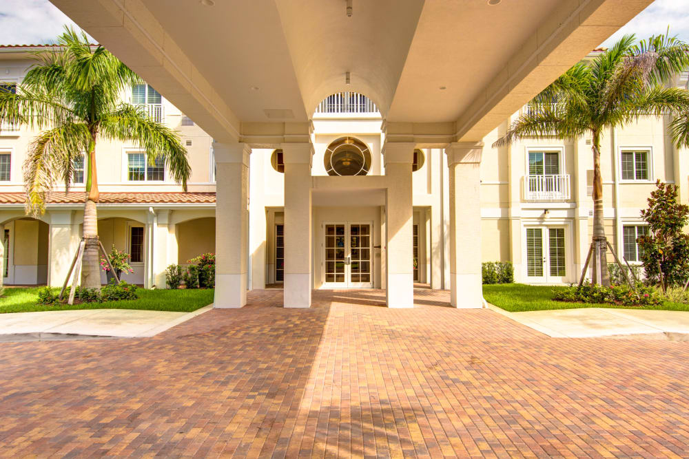 Main entrance and driveway into The Meridian at Boca Raton in Boca Raton, Florida