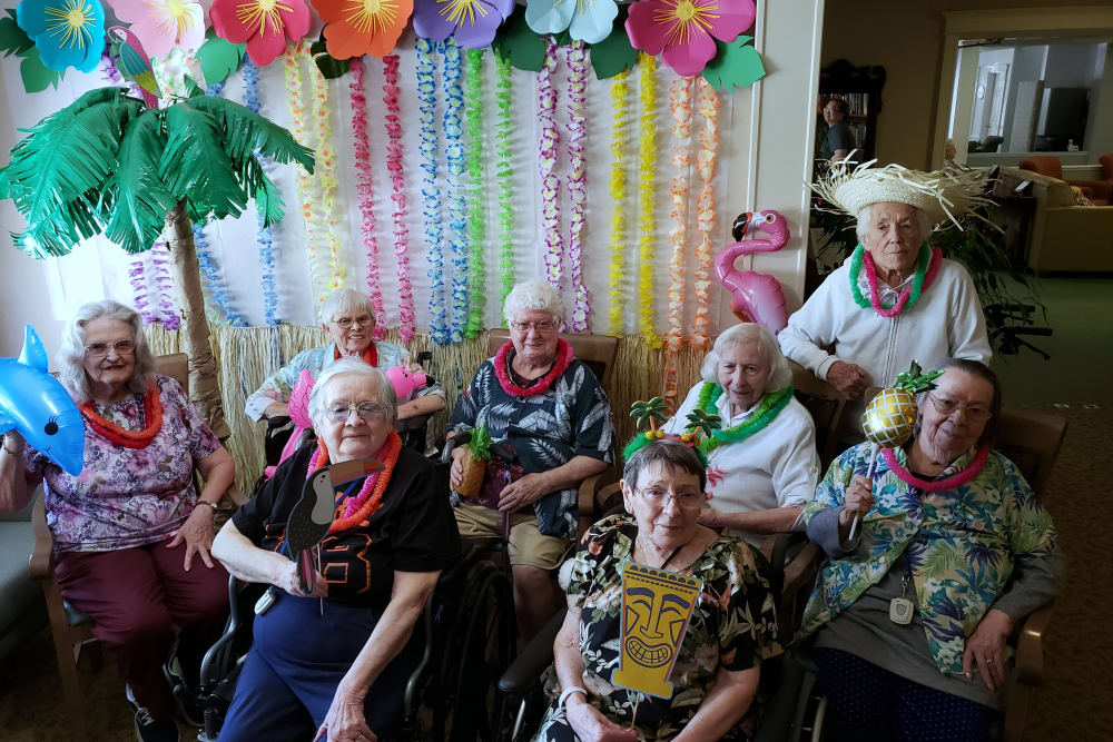 Luau time at Sundial Assisted Living in Redding, California