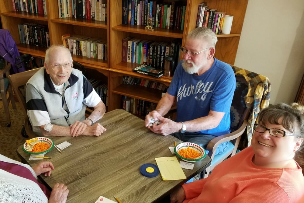 Friends gathered around the table at Sundial Assisted Living in Redding, California