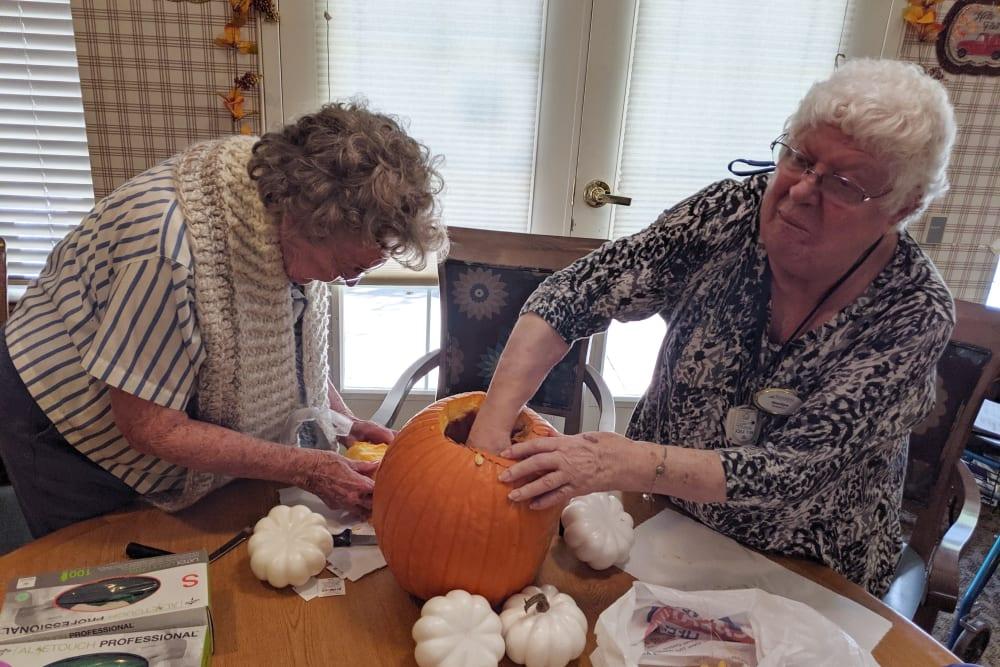 Pumpkin carving at Sundial Assisted Living in Redding, California
