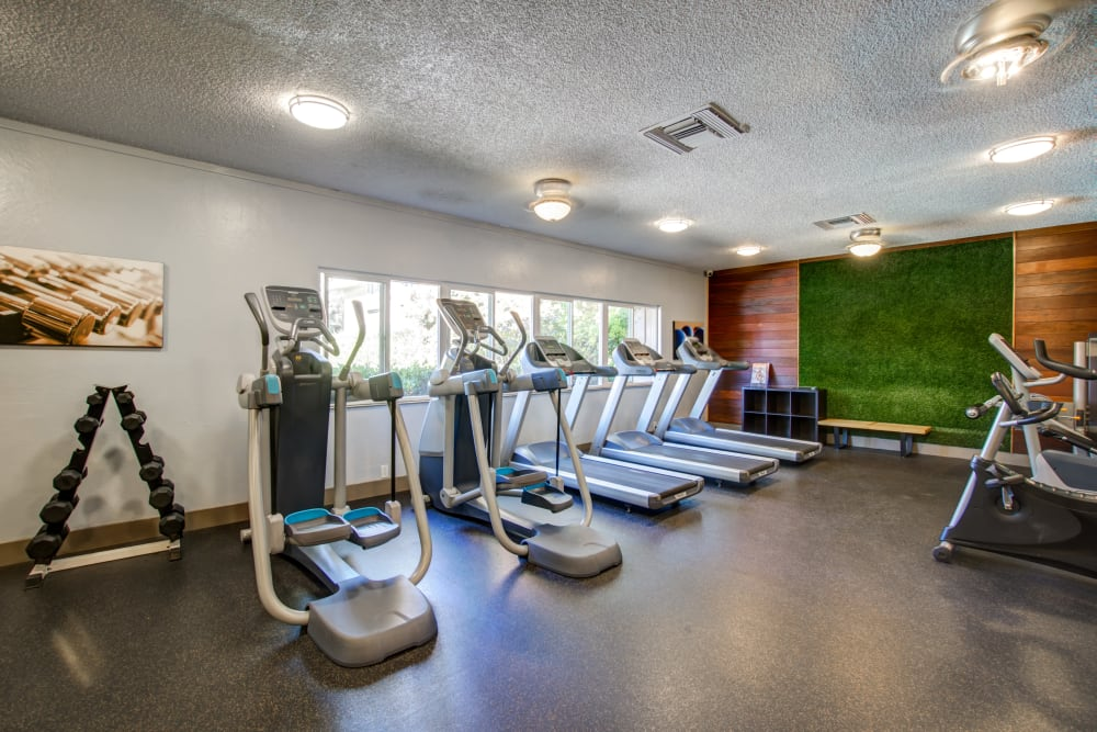 Cardio machines in the fitness center at Waterstone Fremont in Fremont, California