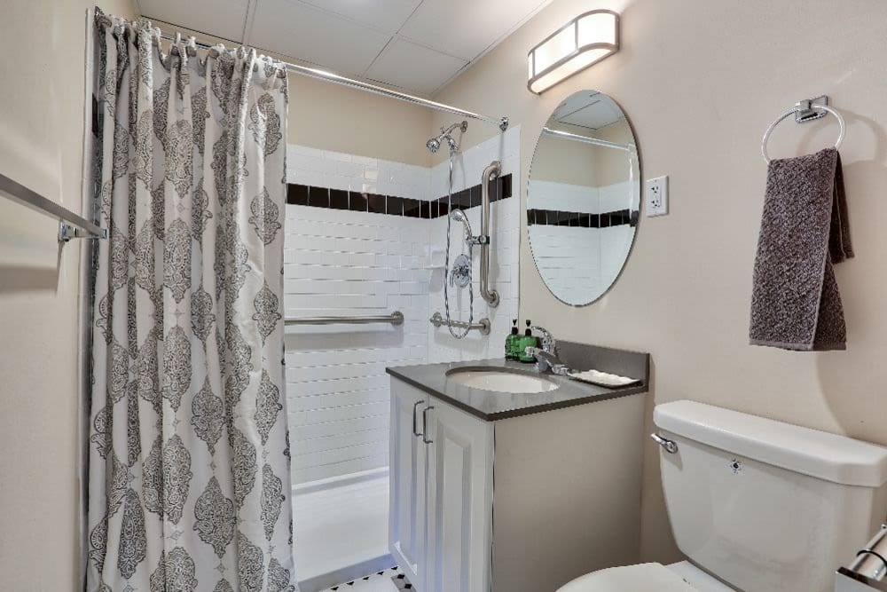 Senior living apartment bathroom at Chevy Chase House in Washington, District of Columbia