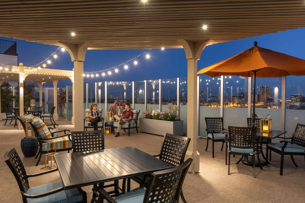 Rooftop lounge at Regency Palms Long Beach in Long Beach, California