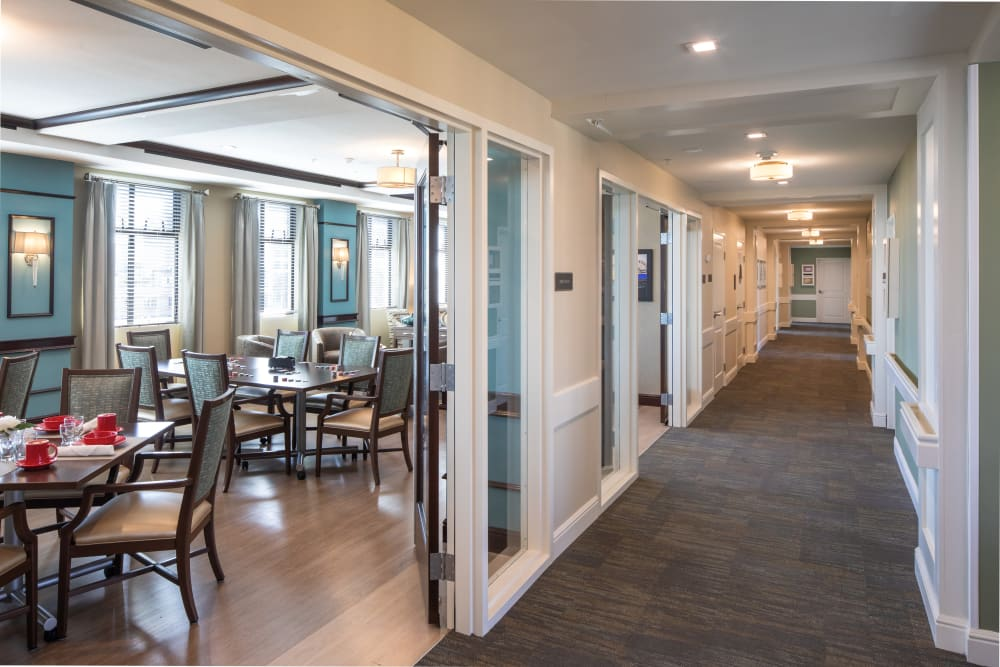 Hallway next to one of the dining rooms in Regency Palms Long Beach in Long Beach, California