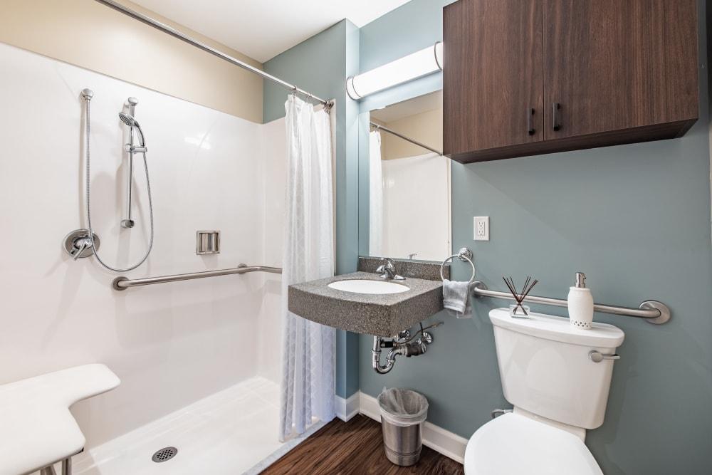 Bathroom with hand rails at Regency Palms Oxnard in Oxnard, California