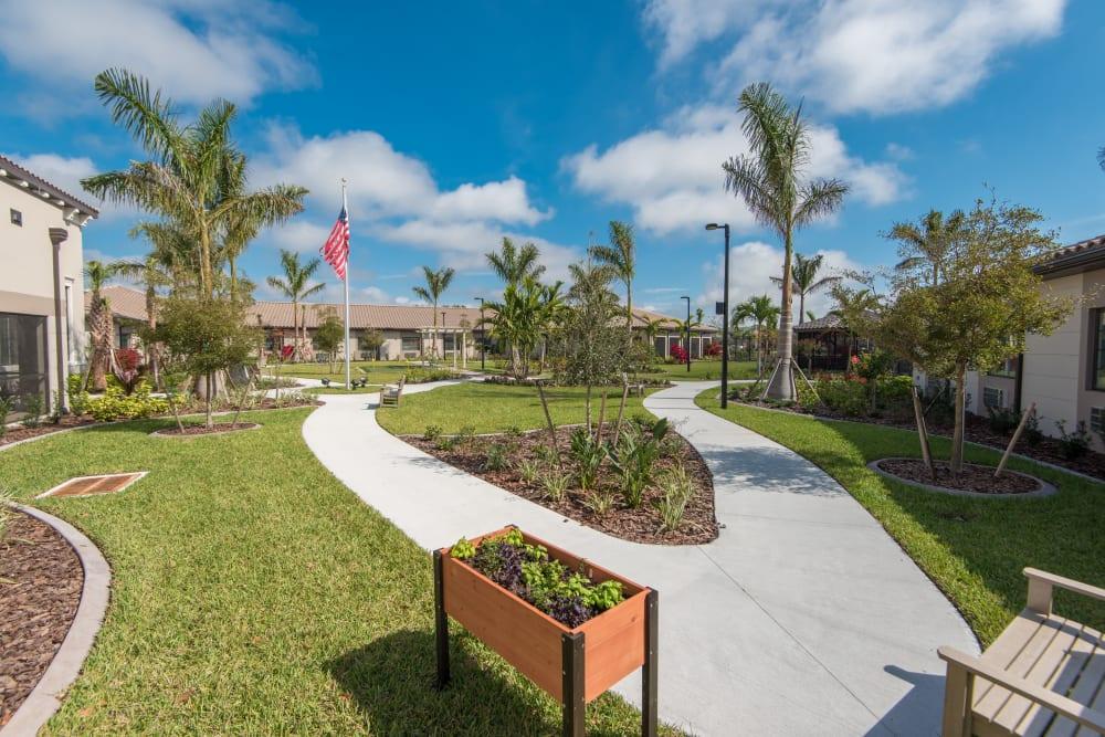 Manicured lawns at Inspired Living Bonita Springs in Bonita Springs, Florida.