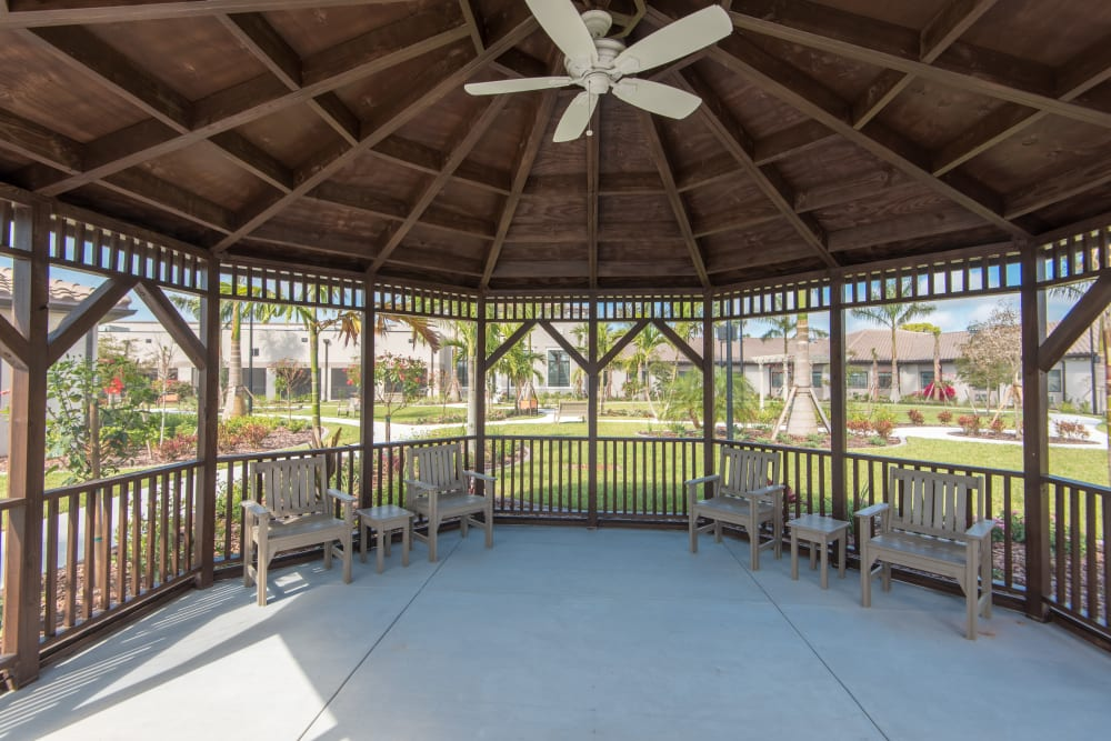 Shaded gazebo at Inspired Living Bonita Springs in Bonita Springs, Florida.