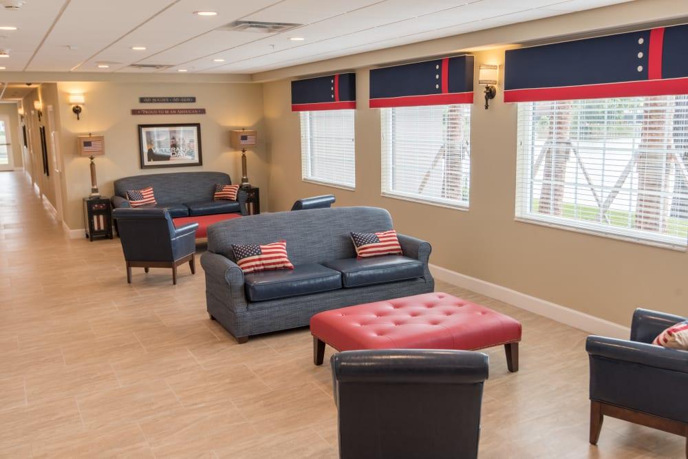 Seating area at Inspired Living in Bonita Springs, Florida.
