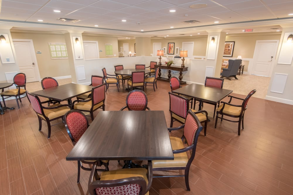 Resident dining room at Inspired Living at Bonita Springs in Bonita Springs, Florida.