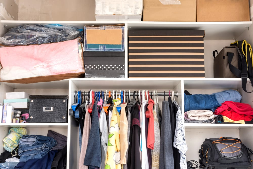 Organized items in storage at Devon Self Storage in Pasadena, Texas